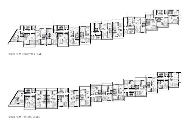 Floor plans of Faraday House located in London, UK. The drawing are black and white. Top drawing shows courtyard level- Bottom drawing shows typical levels. Floor plans are wide and horizontally narrow.