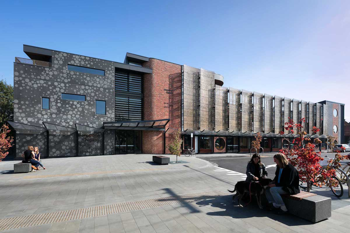 Front facade of the North Fitzroy Library and Community Hub. The building has three floors and it's facade is