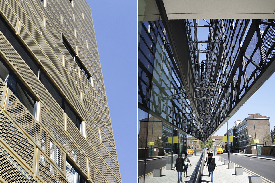 Halved picture that shows two different photos. Both photos are of Deptford Lounge located in London, UK. Building has gold-coloured copper walls. The copper walls are produced by Nordic Copper and Aurubis. The specific copper used is called Nordic Royal. Left photo shows a building wall cascading towards the sky. Right photo shows a walkway with people walking. The wall of the Deptford Lounge protrudes above the walkway.