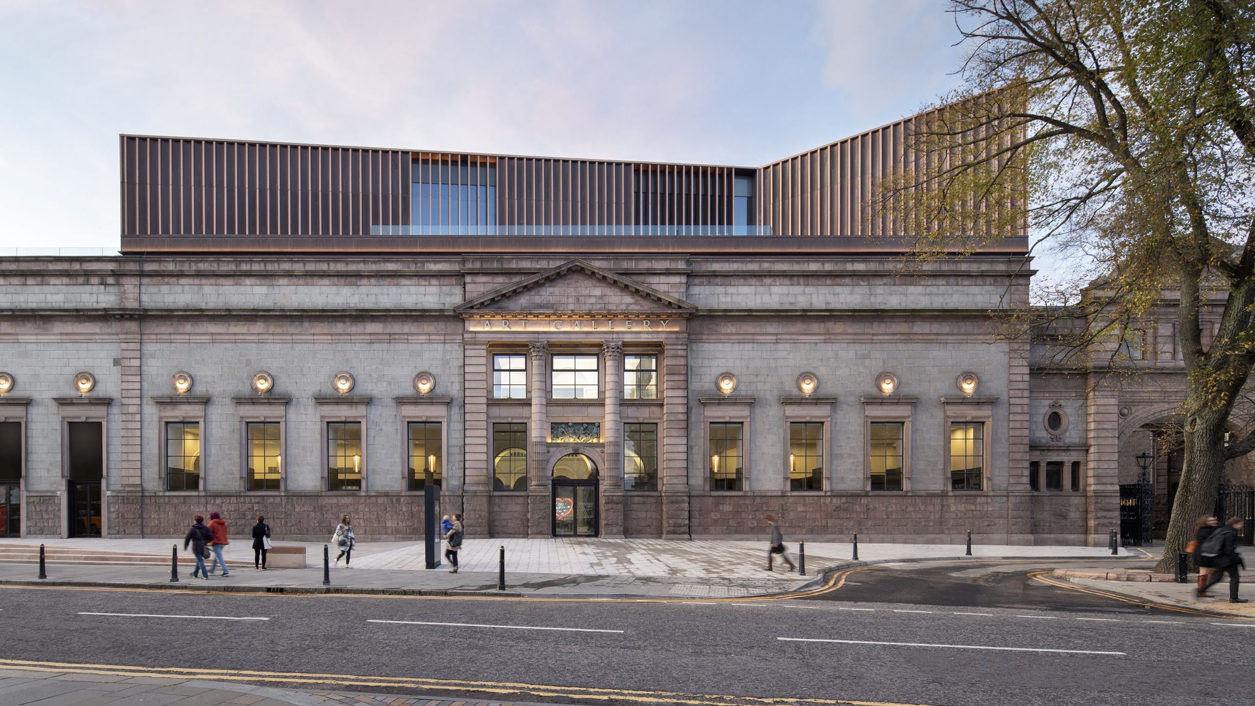 Main facades of rejuvenated Aberdeen Art Gallery located in Scotland. The copper facades are clad form Nordic Brown copper by Nordic Copper from Aurubis Finland.