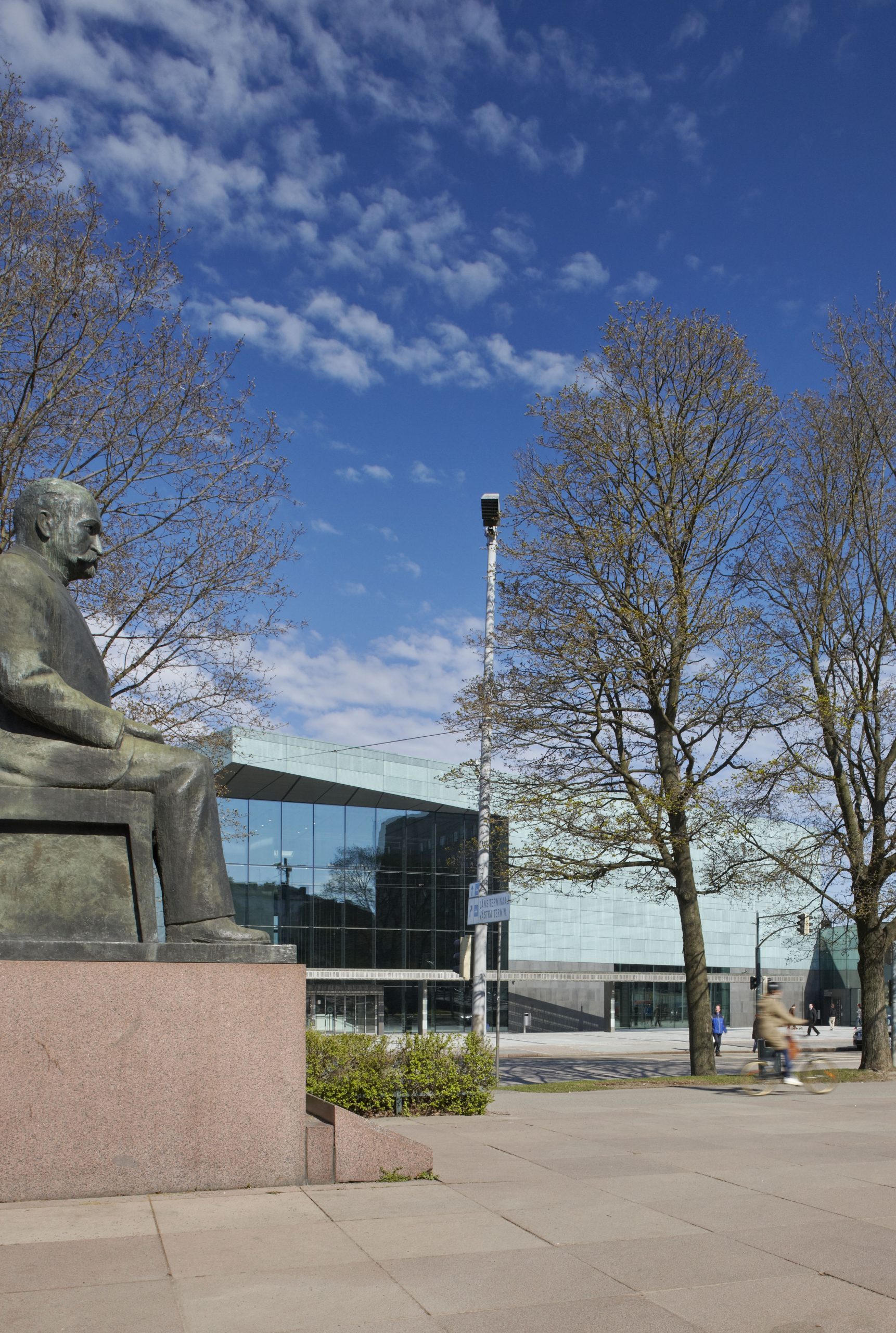 Corner view of the Helsinki Music Centre located in Finland. The green walls are clad from Nordic Green copper.