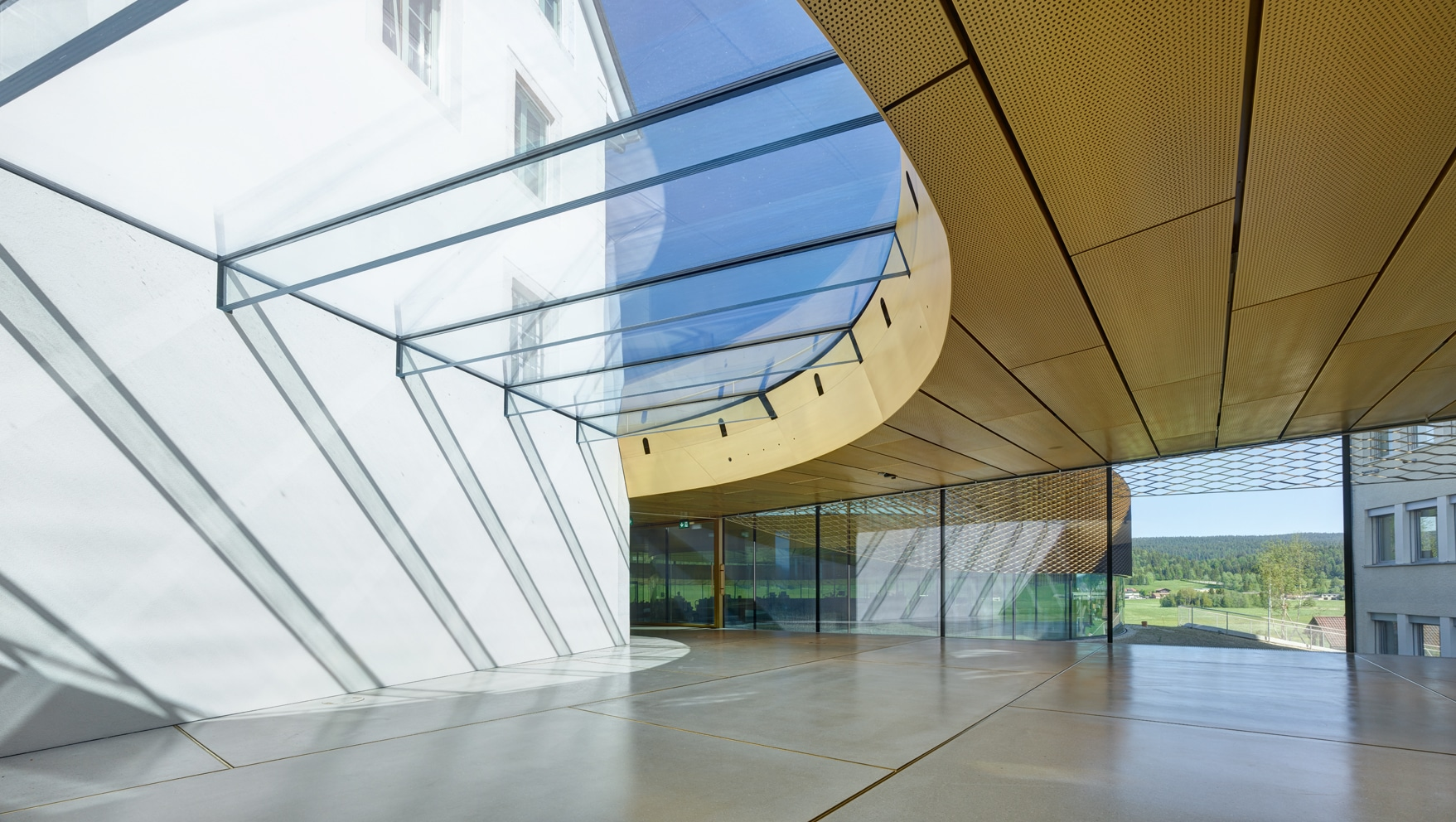 Inside view of the Museum Maison des Foundateurs. The gold-coloured roof is clad from Nordic Brass copper.