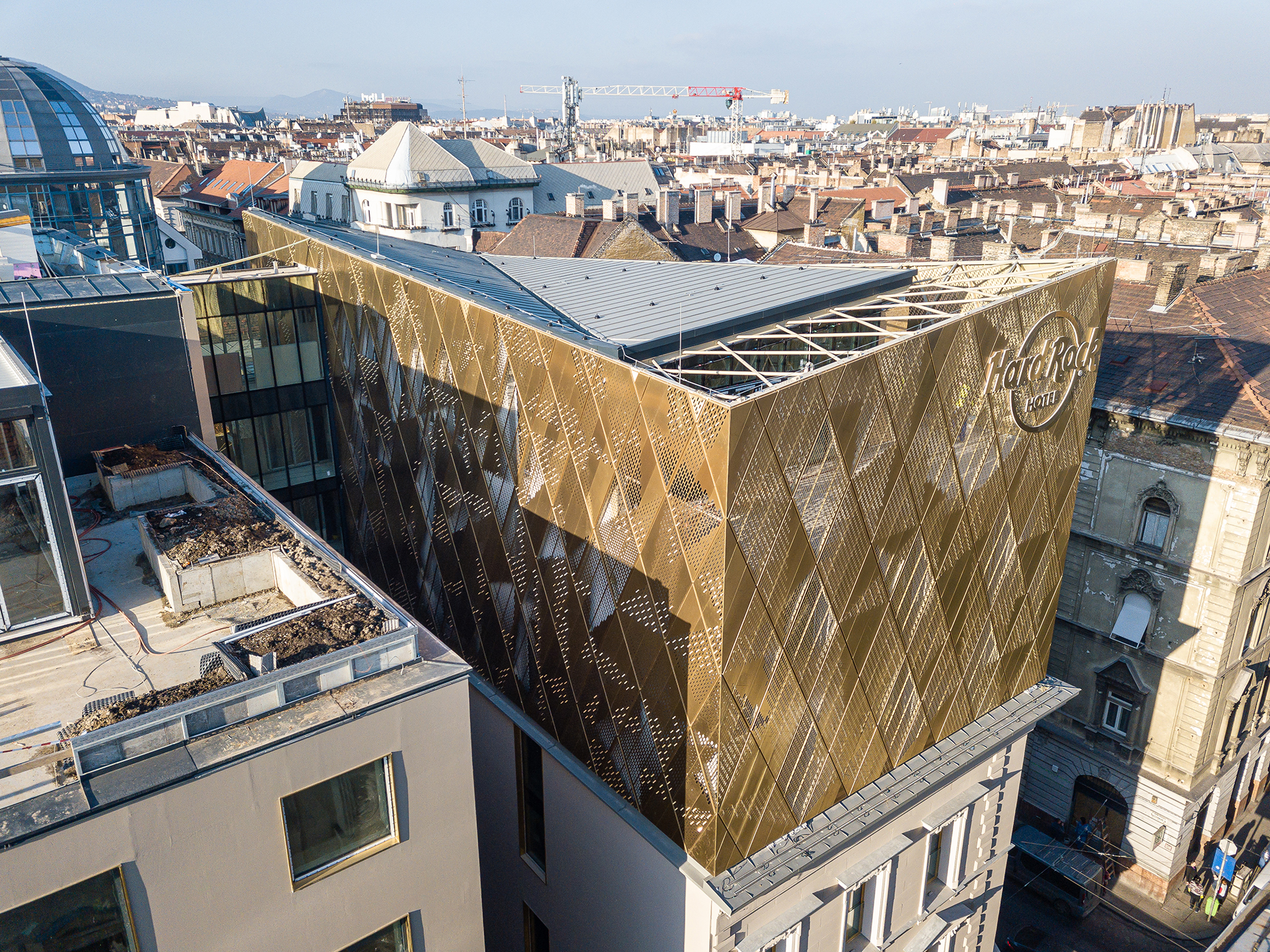 Aerial view of the Hard Rock hotel located in Budapest, Hungary. The gold-coloured walls are clad from Nordic Royal copper.