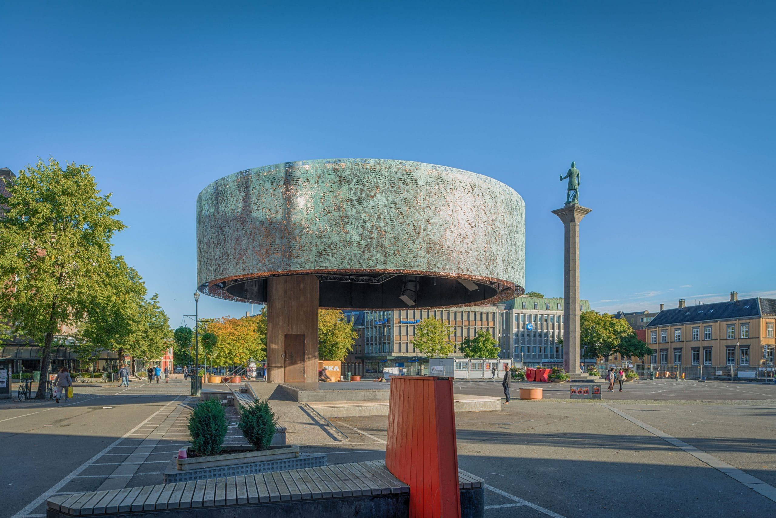 Communal Stage located in Trondheim, Norway. The circular walls are clad from Nordig Green copper.