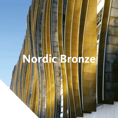 Nordic Bronze is an alloy of copper and tin. When exposed to the atmosphere, the surface gradu­ally changes to a stable, dark chocolate brown or even to a black shade.