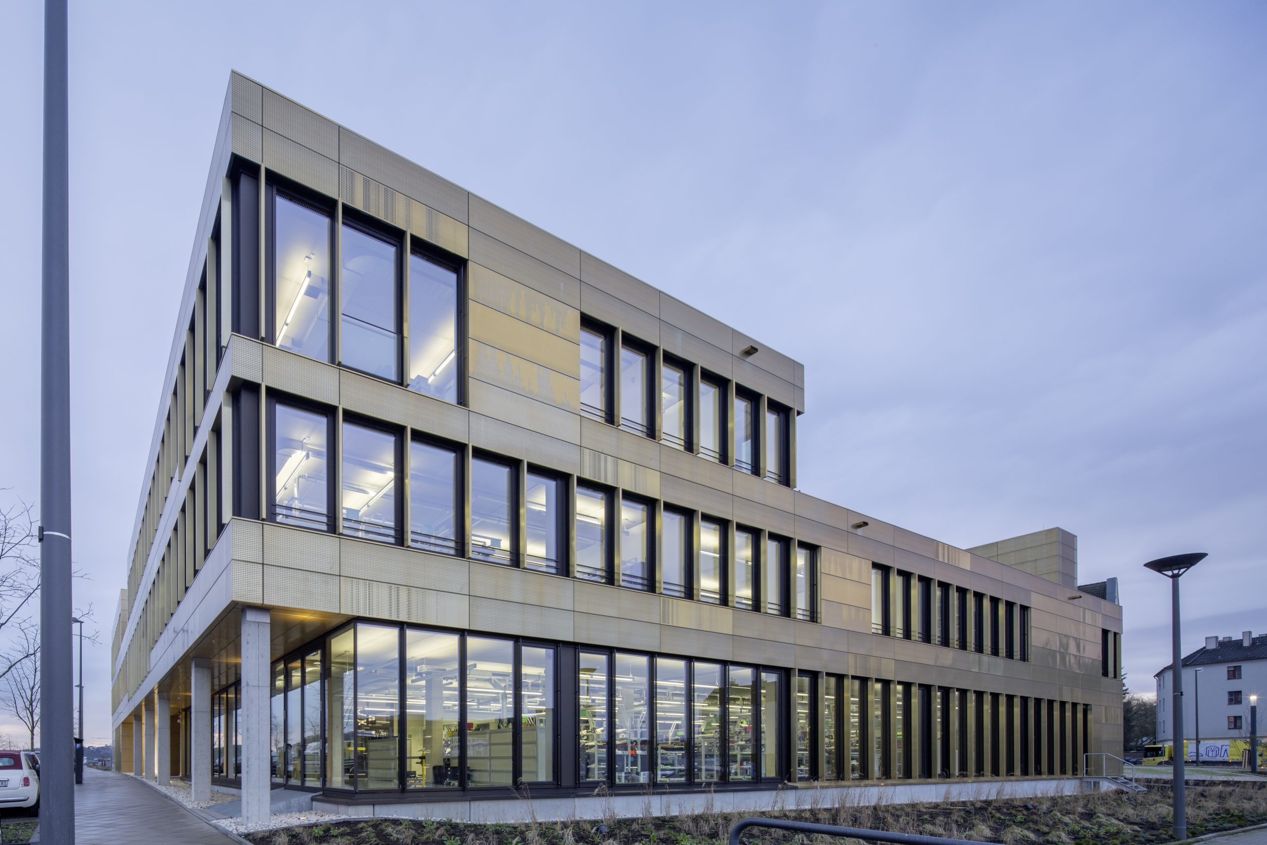 Outside view of the Microsonic building in Germany. The walls and the roof are clad from Nordic Royal copper.